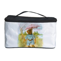 Vintage Drawing: Teddy Bear In The Rain Cosmetic Storage Case by MotherGoose