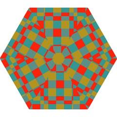 Squares In Retro Colors Mini Folding Umbrella by LalyLauraFLM