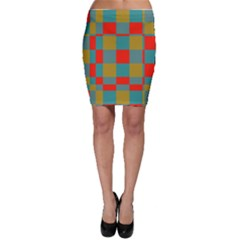 Squares In Retro Colors Bodycon Skirt