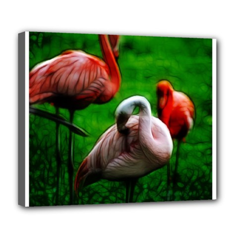 3pinkflamingos Deluxe Canvas 24  X 20  (framed) by bloomingvinedesign