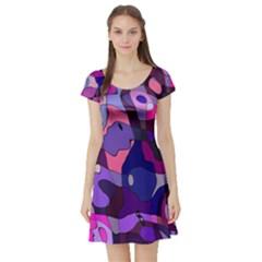 Blue Purple Chaos Short Sleeved Skater Dress