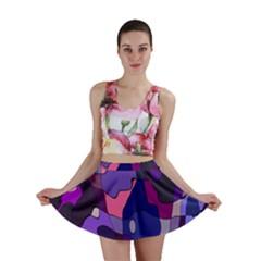 Blue Purple Chaos Mini Skirt