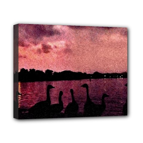 7 Geese At Sunset Canvas 10  X 8  (framed) by bloomingvinedesign