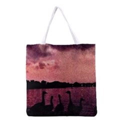 7 Geese At Sunset Grocery Tote Bag by bloomingvinedesign