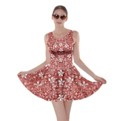 Flowers Pattern Collage In Coral An White Colors Skater Dress