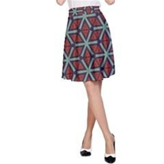 Cubes Pattern Abstract Design A Line Skirt