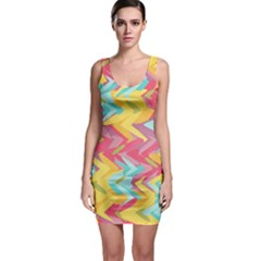 Paint Strokes Abstract Design Bodycon Dress by LalyLauraFLM