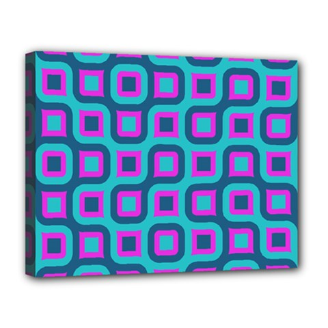 Blue Purple Squares Pattern Canvas 14  X 11  (stretched) by LalyLauraFLM