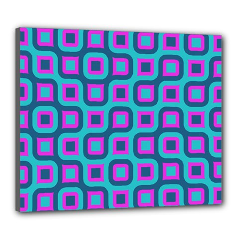 Blue Purple Squares Pattern Canvas 24  X 20  (stretched) by LalyLauraFLM