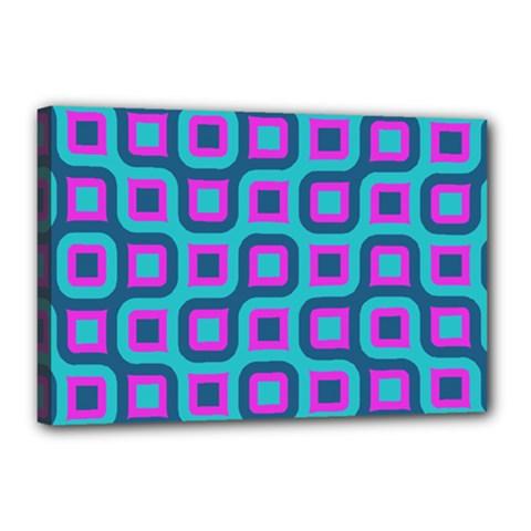 Blue Purple Squares Pattern Canvas 18  X 12  (stretched) by LalyLauraFLM