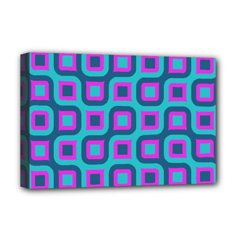 Blue Purple Squares Pattern Deluxe Canvas 18  X 12  (stretched) by LalyLauraFLM