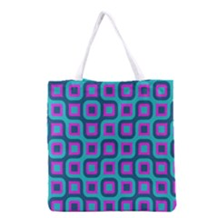 Blue Purple Squares Pattern Grocery Tote Bag by LalyLauraFLM