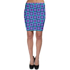 Blue Purple Squares Pattern Bodycon Skirt by LalyLauraFLM