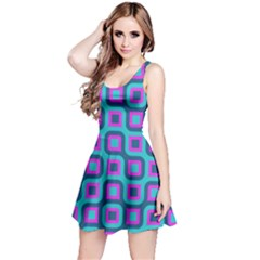 Blue Purple Squares Pattern Sleeveless Dress by LalyLauraFLM