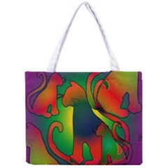Rainbow Purple Cats Tiny Tote Bag by bloomingvinedesign
