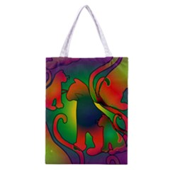 Rainbow Purple Cats Classic Tote Bag by bloomingvinedesign