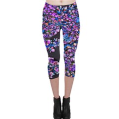 Abstract Lilacs Capri Leggings  by bloomingvinedesign