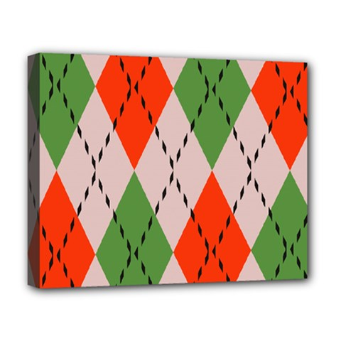 Argyle Pattern Abstract Design Deluxe Canvas 20  X 16  (stretched) by LalyLauraFLM