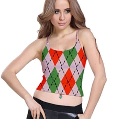 Argyle Pattern Abstract Design Women s Spaghetti Strap Bra Top by LalyLauraFLM