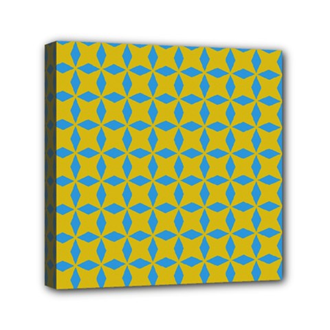 Blue Diamonds Pattern Mini Canvas 6  X 6  (stretched) by LalyLauraFLM