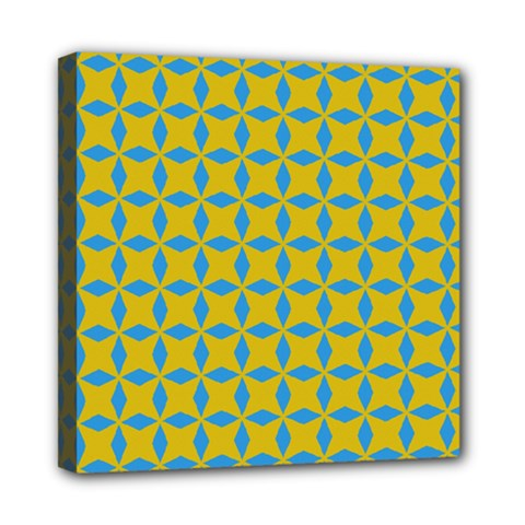 Blue Diamonds Pattern Mini Canvas 8  X 8  (stretched) by LalyLauraFLM