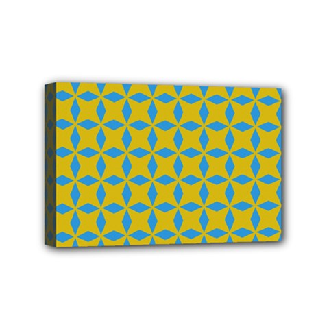 Blue Diamonds Pattern Mini Canvas 6  X 4  (stretched) by LalyLauraFLM