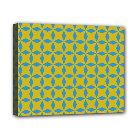 Blue Diamonds Pattern Canvas 10  X 8  (stretched) by LalyLauraFLM