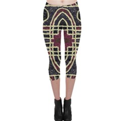 Tribal Style Ornate Grunge Pattern  Capri Leggings  by dflcprintsclothing