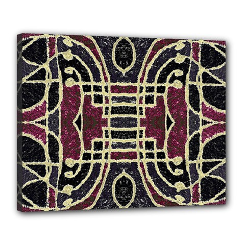 Tribal Style Ornate Grunge Pattern  Canvas 20  X 16  (framed) by dflcprints