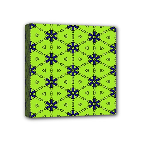 Blue Flowers Pattern Mini Canvas 4  X 4  (stretched) by LalyLauraFLM
