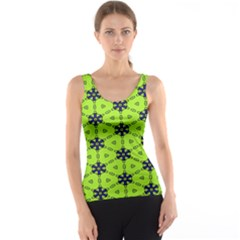 Blue Flowers Pattern Tank Top by LalyLauraFLM