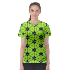 Blue Flowers Pattern Women s Sport Mesh Tee by LalyLauraFLM
