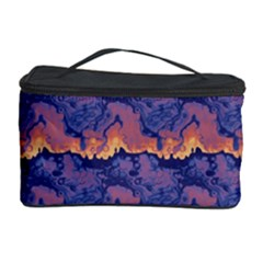 Pink Blue Waves Pattern Cosmetic Storage Case by LalyLauraFLM
