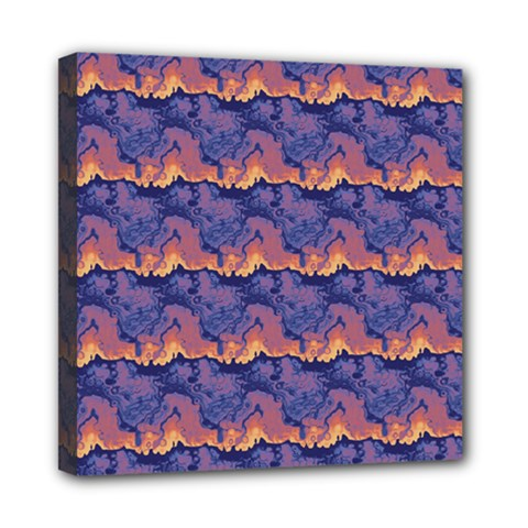 Pink Blue Waves Pattern Mini Canvas 8  X 8  (stretched) by LalyLauraFLM