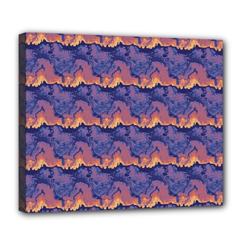 Pink Blue Waves Pattern Deluxe Canvas 24  X 20  (stretched) by LalyLauraFLM