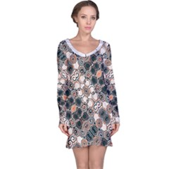 Modern Arabesque Pattern Print Long Sleeve Nightdress by dflcprintsclothing