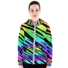 Rainbow Tiger Women s Zipper Hoodie by ArtistRoseanneJones
