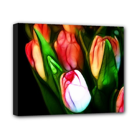 Abstract Pink Tulips Canvas 10  X 8  (framed) by bloomingvinedesign