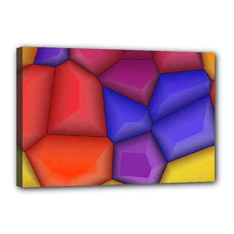 3d Colorful Shapes Canvas 18  X 12  (stretched) by LalyLauraFLM