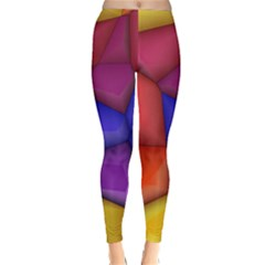 3d colorful shapes Winter Leggings  by LalyLauraFLM