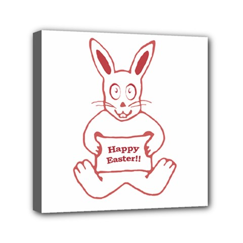 Cute Bunny With Banner Drawing Mini Canvas 6  X 6  (framed) by dflcprints