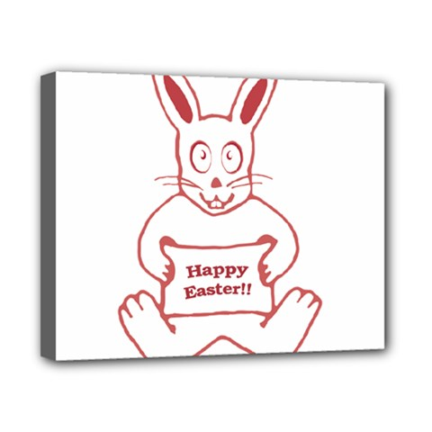 Cute Bunny With Banner Drawing Canvas 10  X 8  (framed) by dflcprints