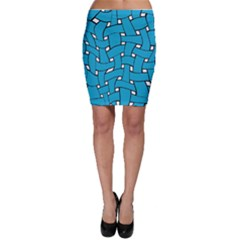 Blue Distorted Weave Bodycon Skirt