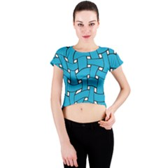 Blue Distorted Weave Crew Neck Crop Top by LalyLauraFLM