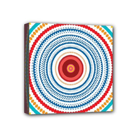 Colorful Round Kaleidoscope Mini Canvas 4  X 4  (stretched) by LalyLauraFLM