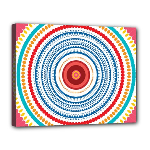 Colorful Round Kaleidoscope Canvas 14  X 11  (stretched) by LalyLauraFLM