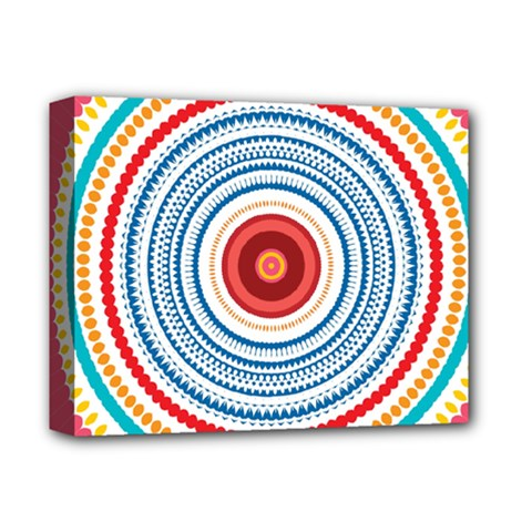 Colorful Round Kaleidoscope Deluxe Canvas 14  X 11  (stretched)