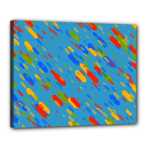 Colorful shapes on a blue background Canvas 20  x 16  (Stretched) by LalyLauraFLM