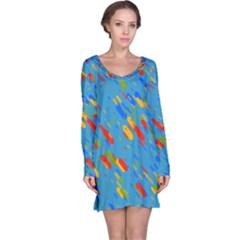 Colorful Shapes On A Blue Background Long Sleeve Nightdress by LalyLauraFLM