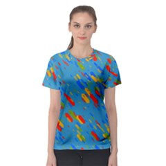 Colorful Shapes On A Blue Background Women s Sport Mesh Tee by LalyLauraFLM